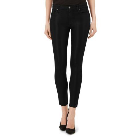 7 For All Mankind Coated Black The Ankle Skinny Stretch Jeans