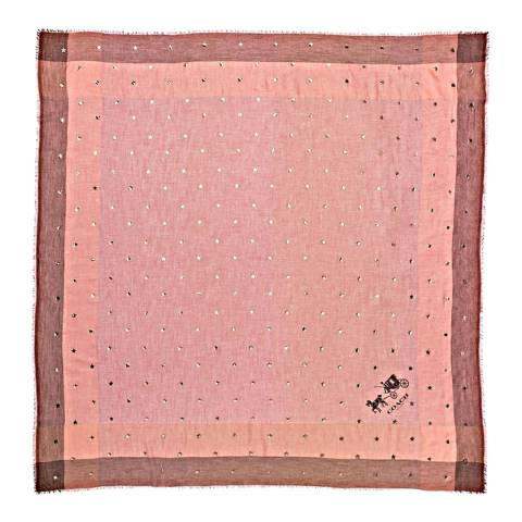 Coach Pale Pink Scattered Stars Foil Print Windowpane Challis Scarf