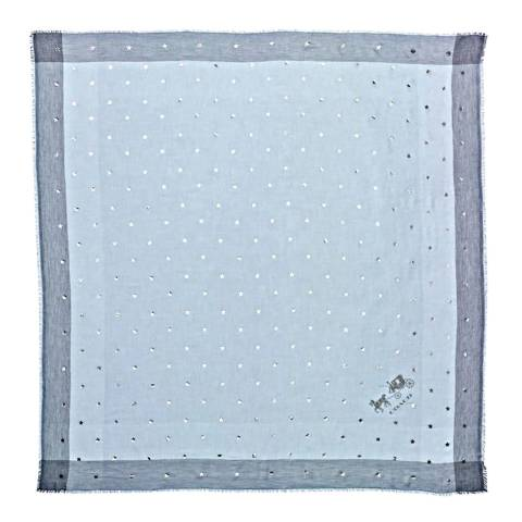 Coach Pale Blue Scattered Stars Foil Print Windowpane Challis Scarf