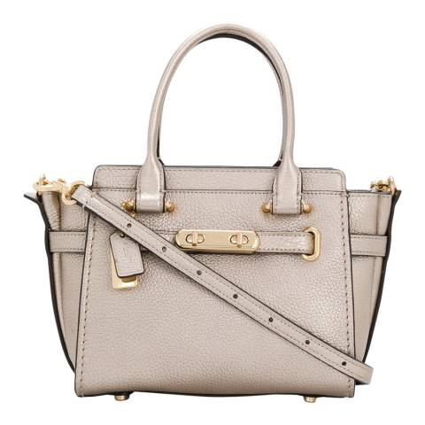 Coach Platinum Leather Metallic Leather Coach Swagger 21 Bag