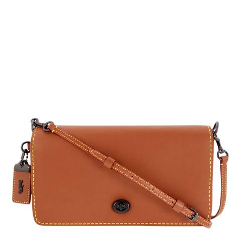 Coach Orange Glovetanned Leather Dinky Crossbody Saddle Bag