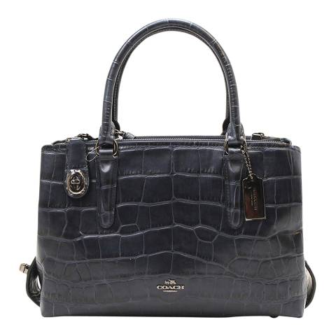 Coach Navy Embissed Leather Croc Brooklyn 28 Carryall Bag