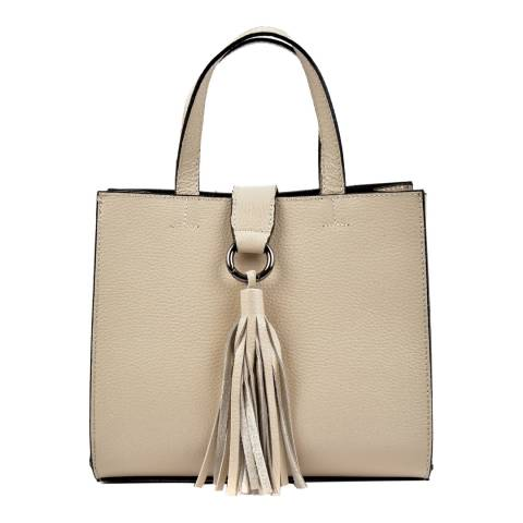 Roberta M Beige Leather Top Handle Bag