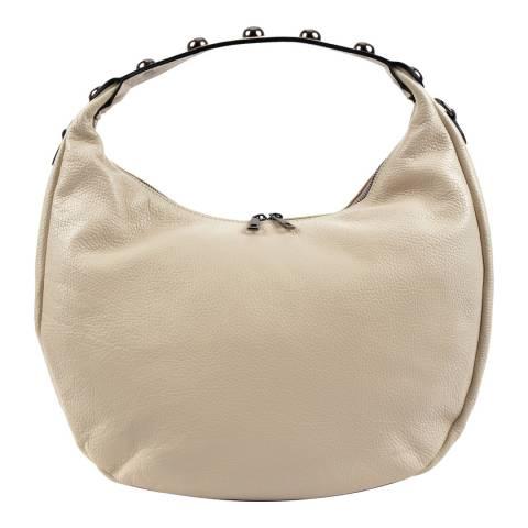 Roberta M Beige Leather Hobo Bag