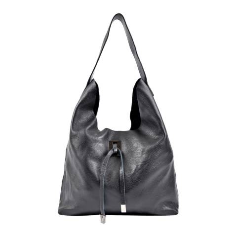 Roberta M Black Leather Hobo Bag