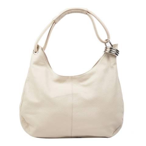 Carla Ferreri Beige Leather Hobo Bag