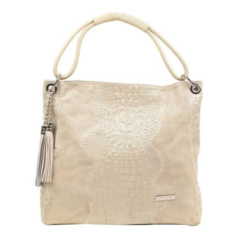 Luisa Vannini Beige Leather Top Handle Bag