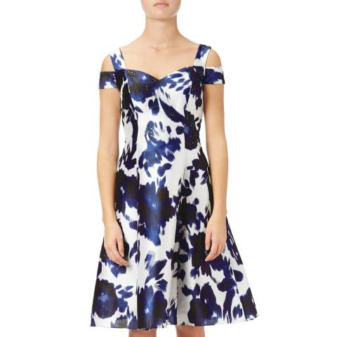 Adrianna Papell Midnight/Ivory Irridescent Faille Fit And Flare Dress