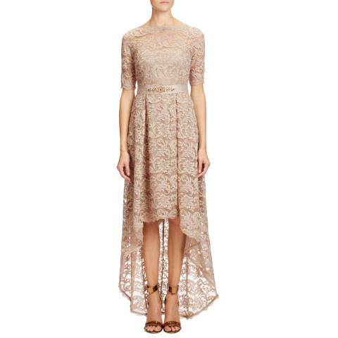 Adrianna Papell Antique Bronze High Low Lace Dress