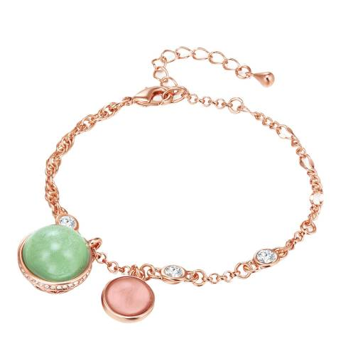Lilly & Chloe Rose Gold/Green Bracelet Metal Embellished With Crystals From Swarovski