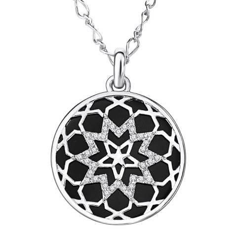 Runway Black/Silver Flower Necklace