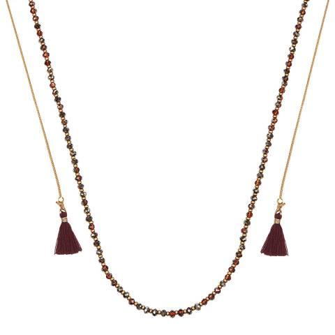 Runway Brown Tassel Drop Necklace