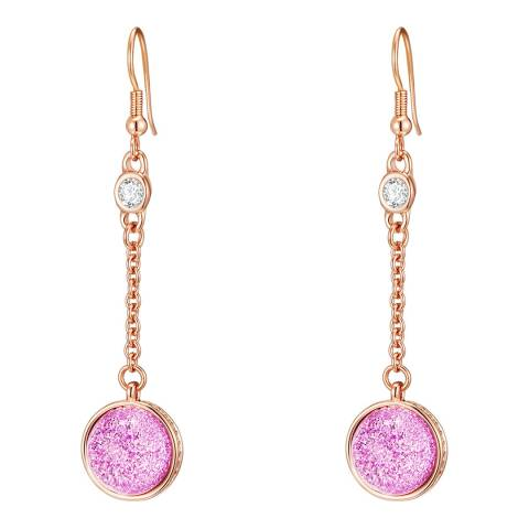 Lilly & Chloe Pink/Rose Gold Crystal Drop Earrings