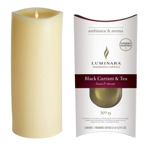 Luminara Wax Fragrance Diffussing Candle - Ivory with Blackcurrant &  Tea Fragrance