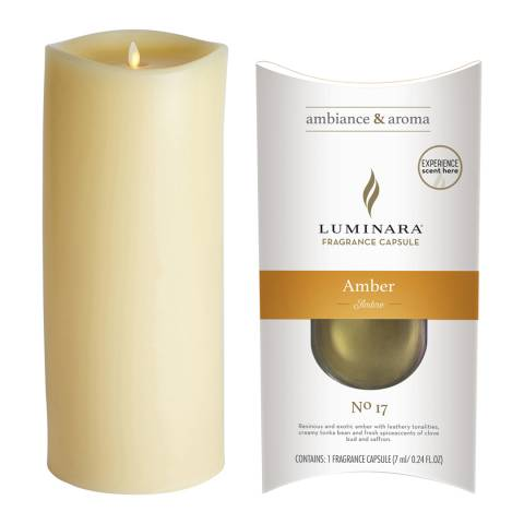 Luminara Wax Fragrance Diffussing Candle - Ivory with Amber Fragrance