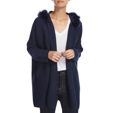 Scott & Scott London Navy Faux Fur Cashmere Bronte Jacket