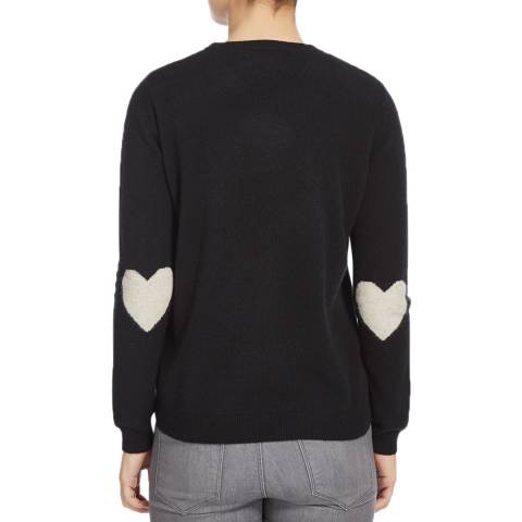 Scott & Scott London Black/White Lurex Heart Sleeve Cashmere Jumper