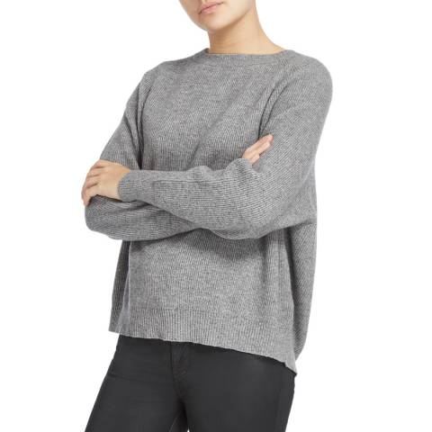 Scott & Scott London Grey Zip Back Cashmere Jumper