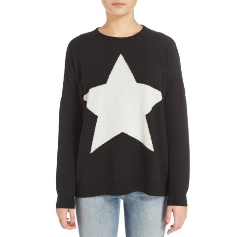 Scott & Scott London Black/White Solid Star Cashmere Jumper