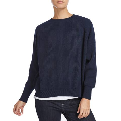 Scott & Scott London Navy Zip Back Cashmere Jumper