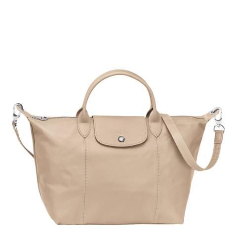 Longchamp Nude Lamskin Le Pliage Top Handle Bag