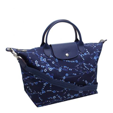 Longchamp Navy Japanese Floral Print Le Pliage Tote Bag