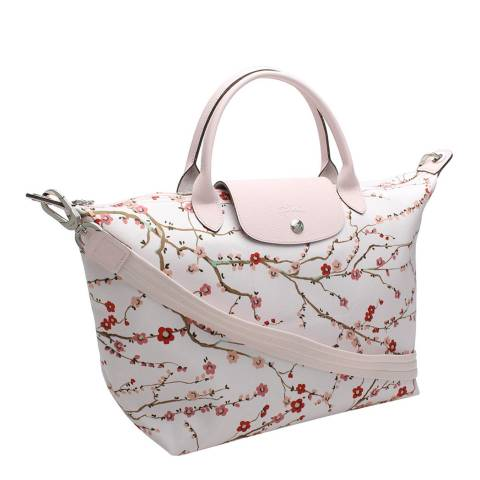Longchamp Pink Japanese Floral Print Le Pliage Tote Bag