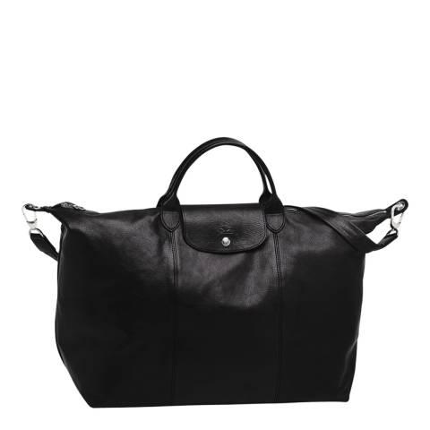 Longchamp Black Leather Travel Bag