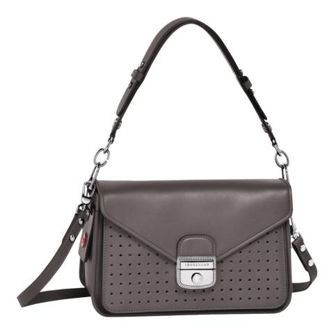 Longchamp Dark Grey Mademoiselle Longchamp Leather Hobo Bag