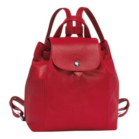 Longchamp Red Le Pliage Leather Backpack