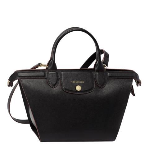 Longchamp Black Le Pliage Heritage Medium Leather Bag