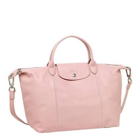 Longchamp Light Pink Medium Le Pliage Leather Bag