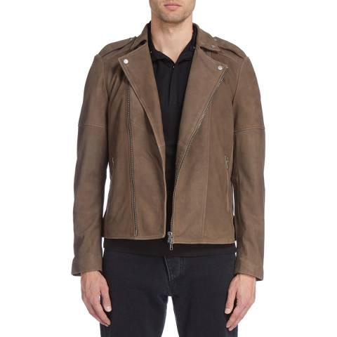 Muubaa Mink Brown Volante Suede Leather Biker Jacket