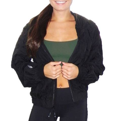 Free People Black Cotton Candy Clouds Zip Up Windbreaker