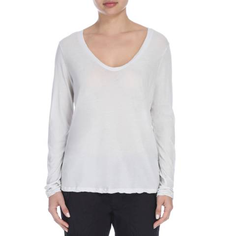 James Perse Womens Powder High Gauge Jersey L/S Tee