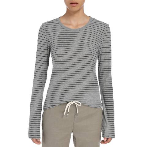 James Perse Womens Heather Grey/Black Bell Sleeve Stripe Crew Top
