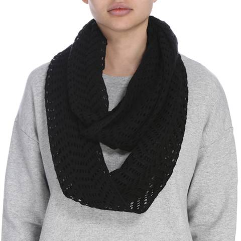 James Perse Womens Black Open Stitch Infinity Scarf