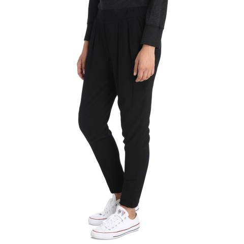 James Perse Black Pleated Crepe Slouch Pant