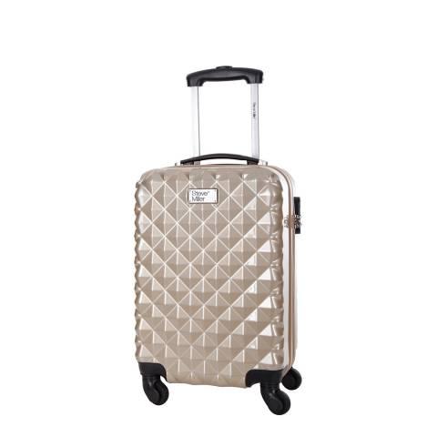 Steve Miller Beige Heart 4 Wheeled Cabin Suitcase 46 cm