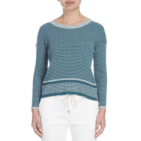 James Perse Womens Turquoise Stripe Vintage L/S Stripe Crew