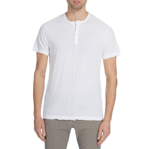 James Perse Mens White Melange Jersey S/S Henley