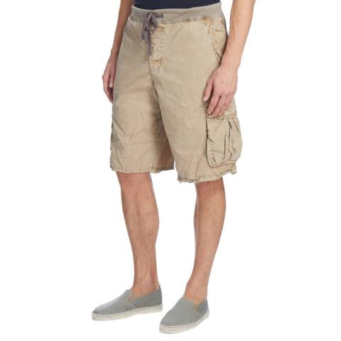 James Perse Mens Red Clay Pigment Cargo Short W/Embroidery