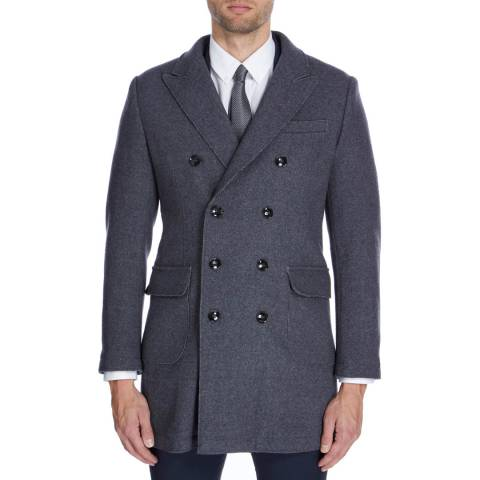 Gianni Feraud Dark Grey Double Breasted Wool Blend Terrence Coat