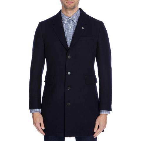 Gianni Feraud Navy John Wool Blend Coat