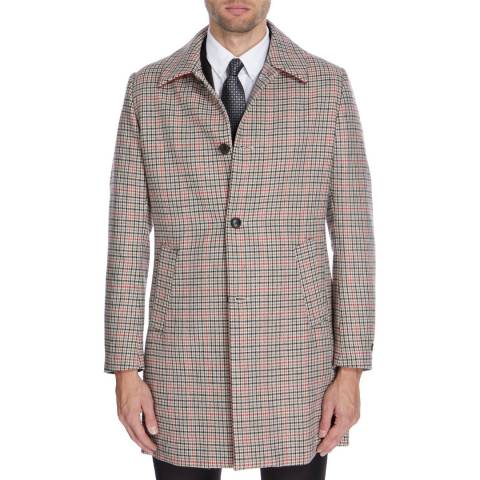 Gianni Feraud Camel/Multi Check Seb Wool Blend Coat
