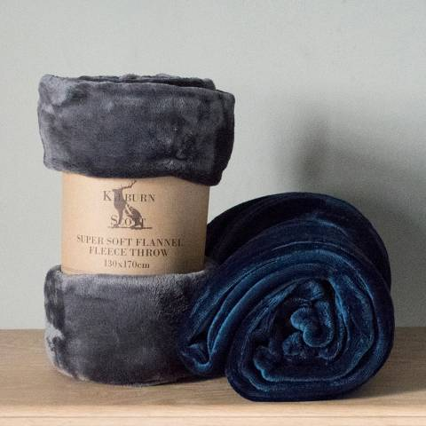 Gallery Inky Blue Fleece Throw 130x170cm