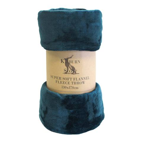 Gallery Teal Fleece Throw 130x170cm