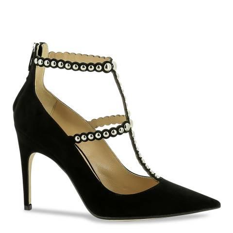 Sergio Rossi Black Suede T Bar Embellished Heeled Pumps