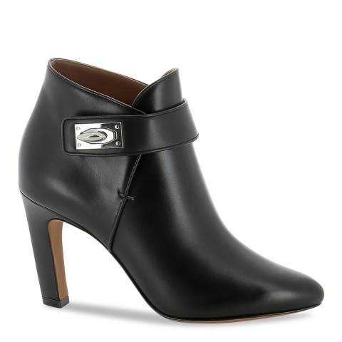 Givenchy Black Leather Strap Heeled Ankle Boots