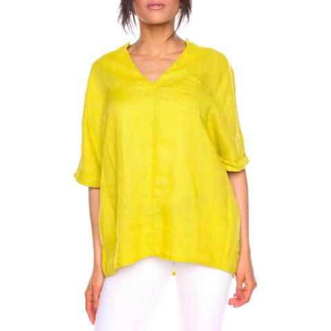 100% Linen Mustard Sonia Linen Top